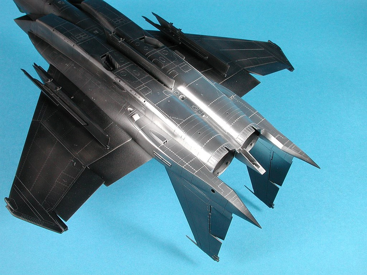 """The unpainted panels on the F-15 extend further forward on the underside as  shown here. Alclad """"Airframe Aluminium"""" again was used."""